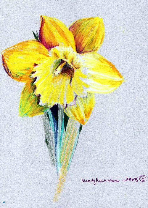 Daffodil Greeting Card featuring the drawing Daffodil by Mindy Newman