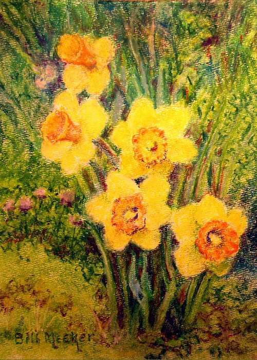 Floral Greeting Card featuring the painting Daffodil Quintet by Bill Meeker