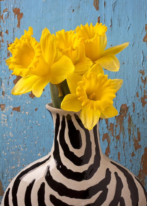 Yellow Greeting Card featuring the photograph Daffodils In Wide Striped Vase by Garry Gay