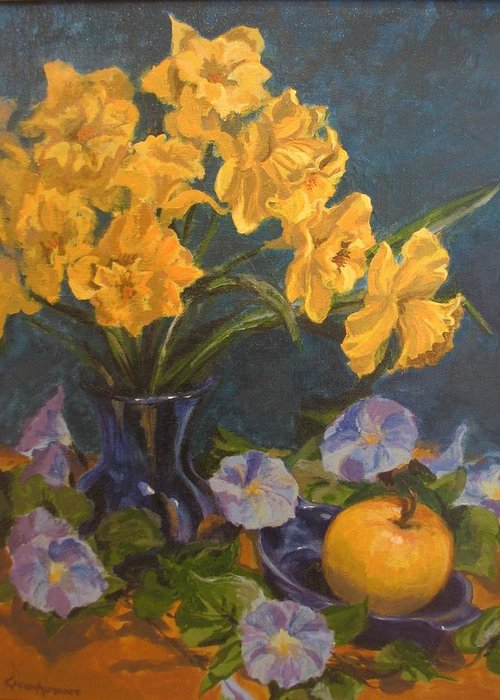 Still Life Greeting Card featuring the painting Daffodils by Karen Ilari