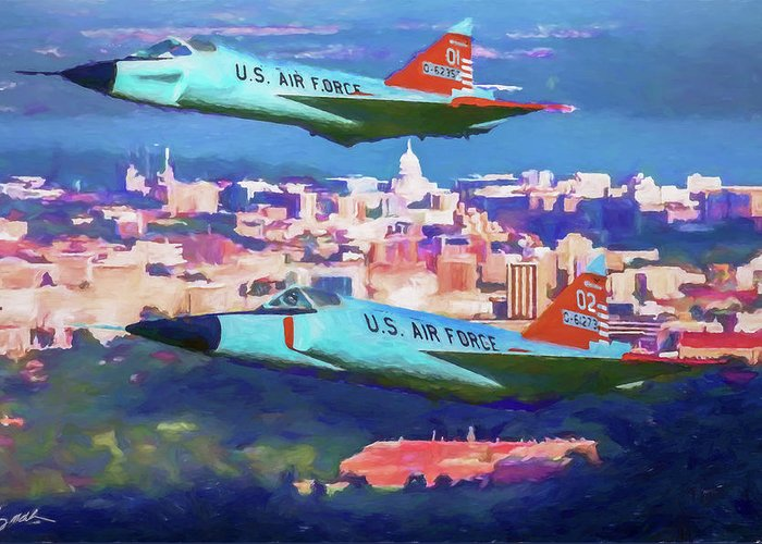 Convair F-102 Delta Dagger Greeting Card featuring the digital art Daggers Over Madison In Oil by Tommy Anderson