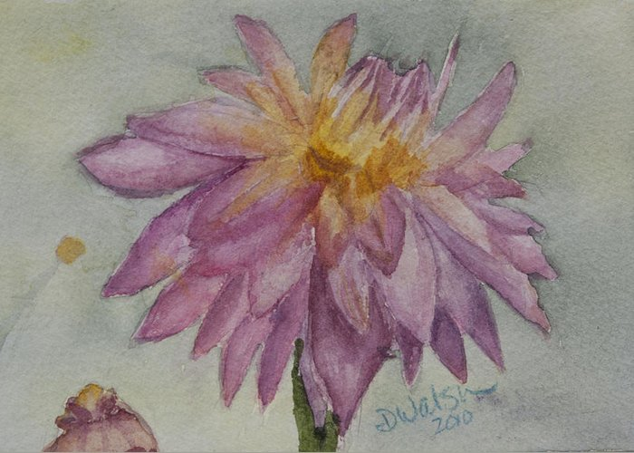 Dahlia Greeting Card featuring the painting Dahlia At Eastport Me by Donna Walsh