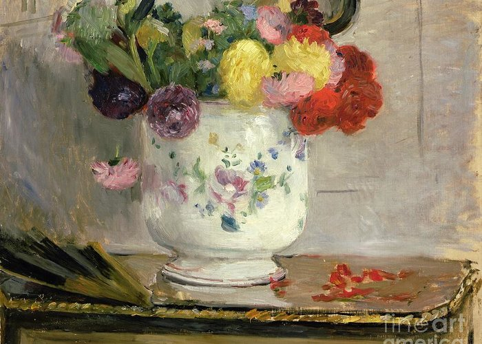 Still Life; Flowers; Flower; Vase; Table; Informal; Dahlia; Vase; Vessel; Impressionist; Petals; Berthe Morisot Greeting Card featuring the painting Dahlias by Berthe Morisot