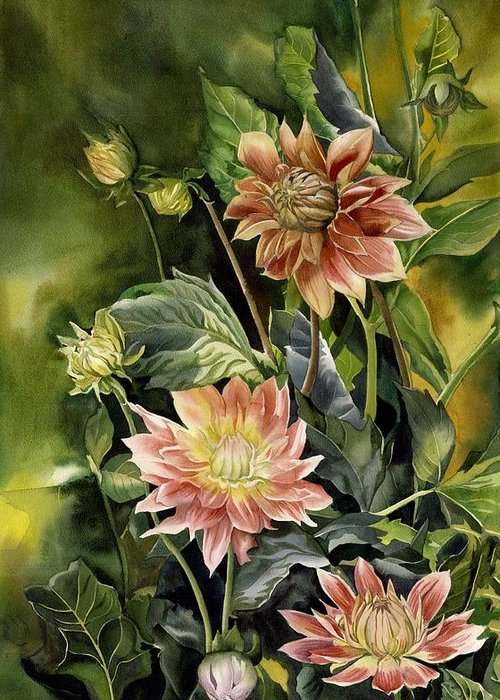 Dahlia Greeting Card featuring the painting Dahlias In Autumn by Alfred Ng
