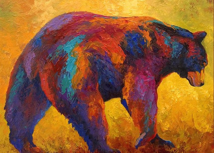 Bear Greeting Card featuring the painting Daily Rounds - Black Bear by Marion Rose