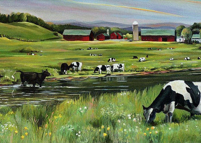 Landscape Greeting Card featuring the painting Dairy Farm Dream by Nancy Griswold
