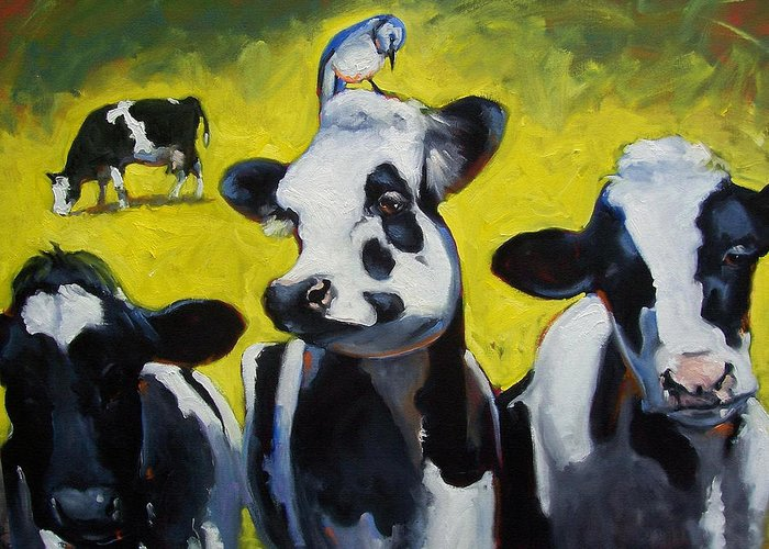 Cows Greeting Card featuring the painting Dairy Queen by Susan Jenkins