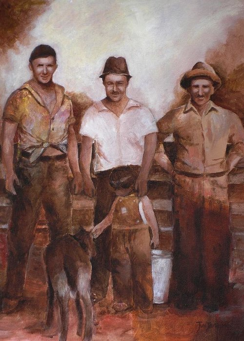 Farm Greeting Card featuring the painting Dairymen by Jun Jamosmos