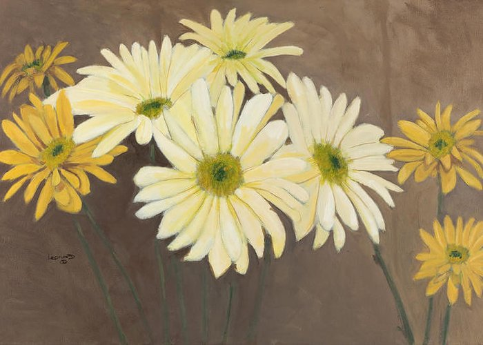 White Daises Greeting Card featuring the painting Daises 1 by Leonard R Wilkinson