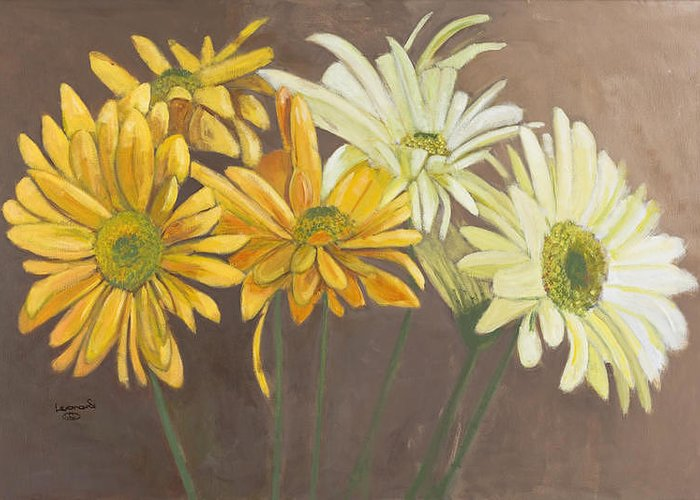 White And Yellow Daises Greeting Card featuring the painting Daises 2 by Leonard R Wilkinson