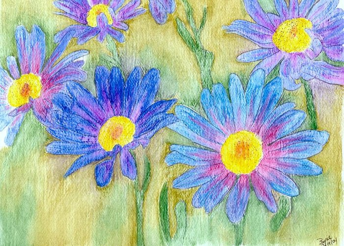 Flowers Greeting Card featuring the painting Daisey Field by Margie Byrne