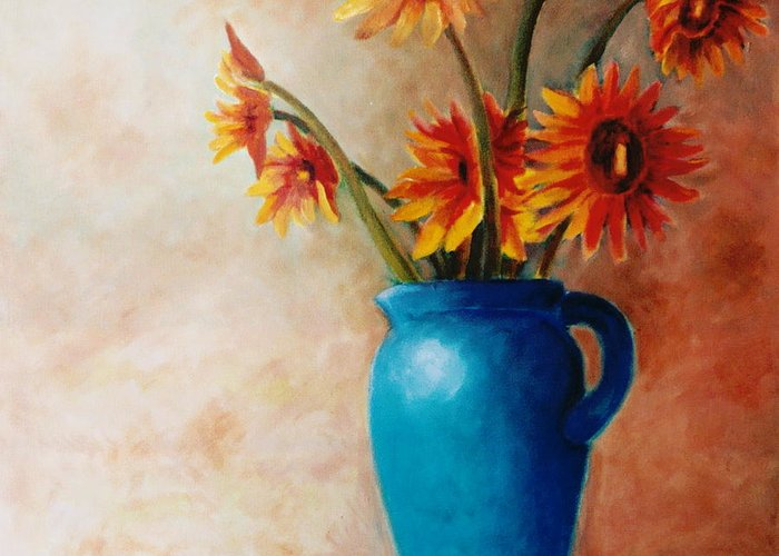 Daisies Greeting Card featuring the painting Daisies And Blue by Jun Jamosmos