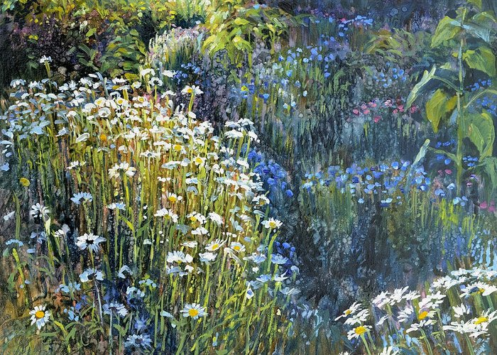 Daisies Greeting Card featuring the painting Daisies And Shades Of Blue by Steve Spencer