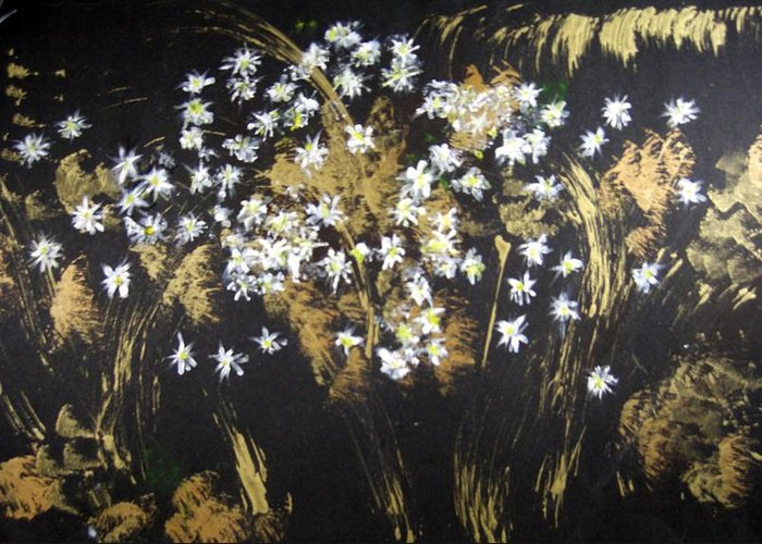 Abstract Greeting Card featuring the painting Daisies In Gold Abstraction by Michela Akers