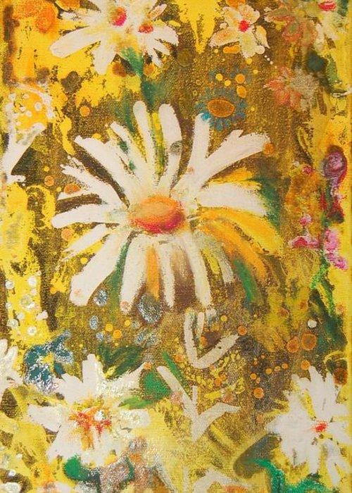 Floral Abstract Greeting Card featuring the painting Daisies In The Wind Vii by Henny Dagenais