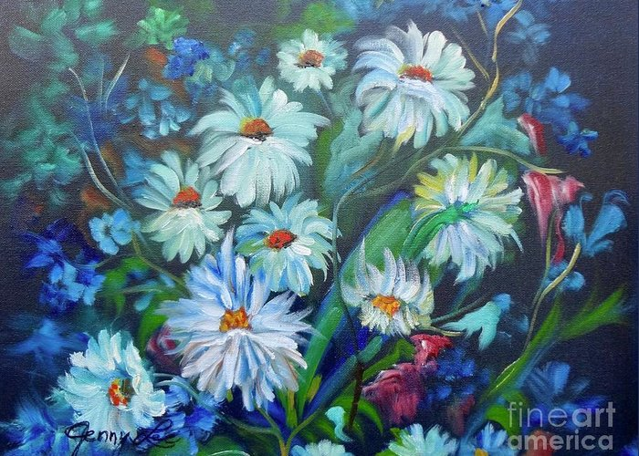 Daisies Greeting Card featuring the painting Daisies by Jenny Lee