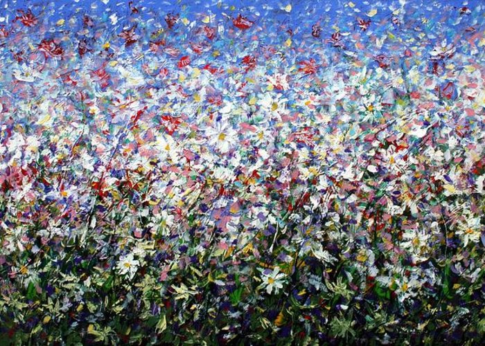 Daisies Greeting Card featuring the painting Daisies by Mario Zampedroni