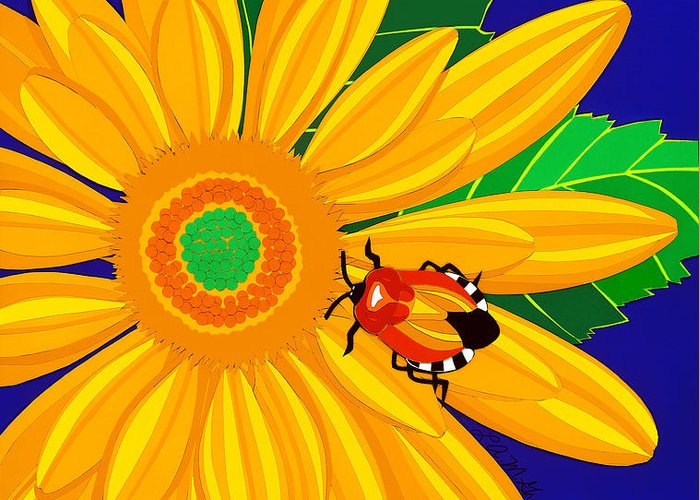 Nature Greeting Card featuring the drawing Daisy And Shieldbug by Lucyna A M Green