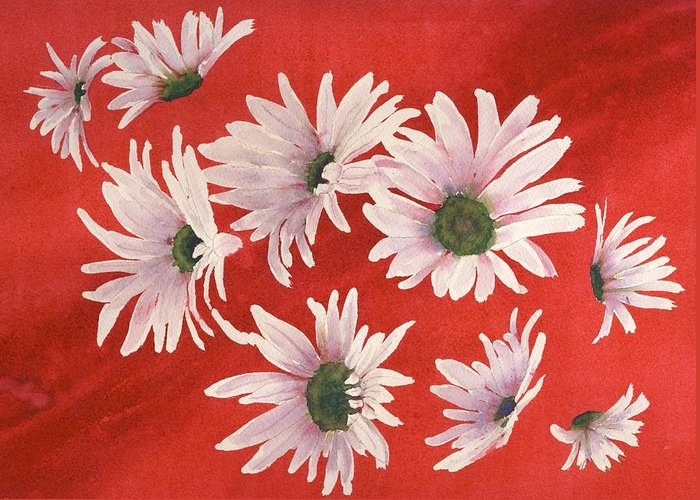 Flowers Greeting Card featuring the painting Daisy Chain by Ruth Kamenev
