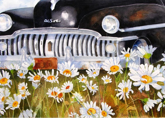 Artist Suzy 'pal' Powell Greeting Card featuring the painting Daisy Desoto by Suzy Pal Powell
