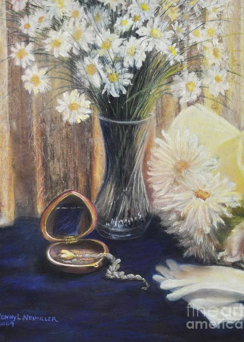 Paintings With Daisys In Greeting Card featuring the painting Daisy Love by Penny Neimiller