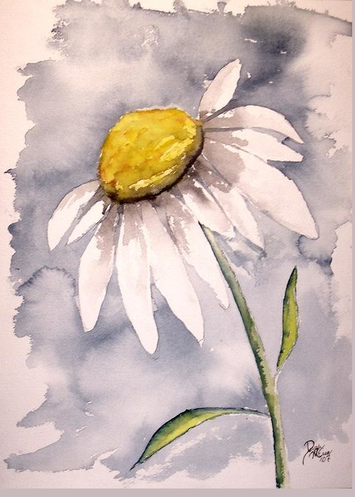 Daisy Greeting Card featuring the painting Daisy Modern Poster Print Fine Art by Derek Mccrea