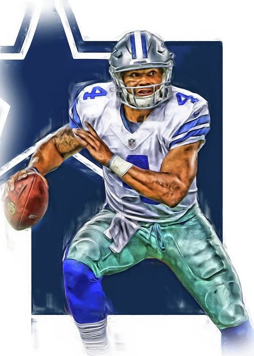 10efe731ea0 Dak Prescott Greeting Card featuring the mixed media Dak Prescott Dallas  Cowboys Oil Art by Joe