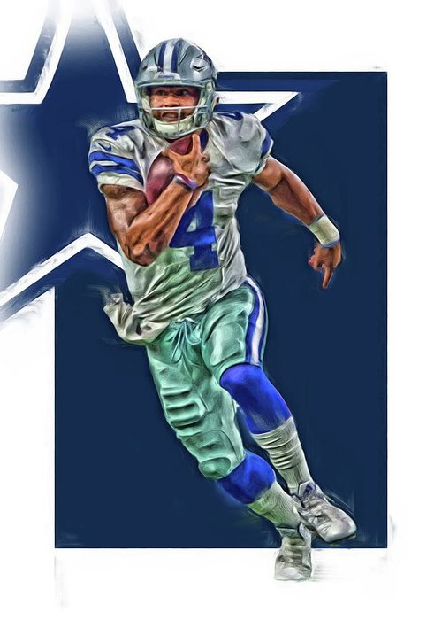 0b069035cda Dak Prescott Greeting Card featuring the mixed media Dak Prescott Dallas  Cowboys Oil Art Series 1