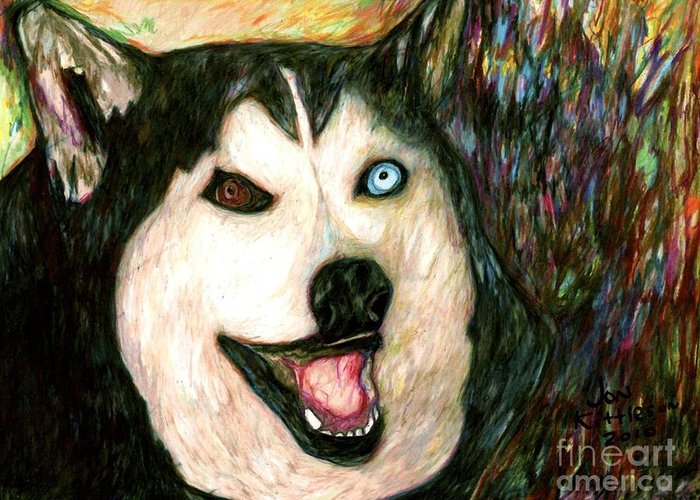 A Family Dog Greeting Card featuring the drawing Dakotah by Jon Kittleson