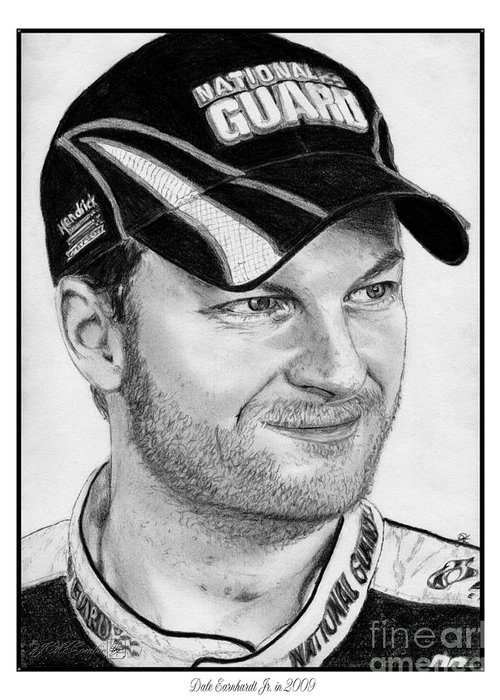 Athlete Greeting Card featuring the drawing Dale Earnhardt Jr In 2009 by J McCombie