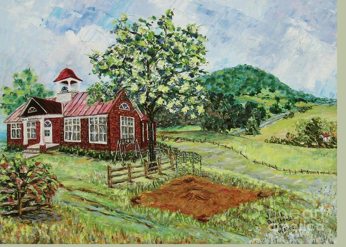 Landscape Greeting Card featuring the painting Dale Enterprise School by Judith Espinoza