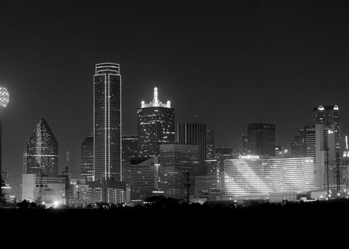 Dallas Greeting Card featuring the photograph Dallas Bw by David Downs