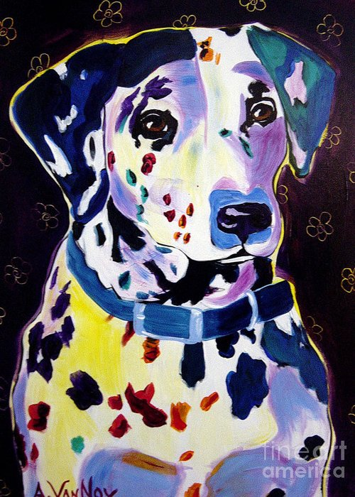 Dog Greeting Card featuring the painting Dalmatian - Dottie by Alicia VanNoy Call