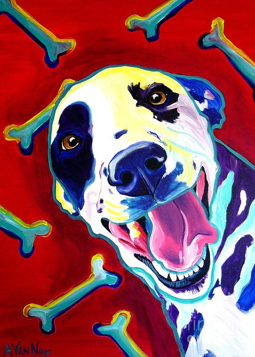 Dog Greeting Card featuring the painting Dalmatian - Yum by Alicia VanNoy Call
