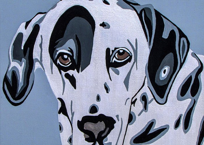 Dalmatian Greeting Card featuring the painting Dalmatian by Slade Roberts
