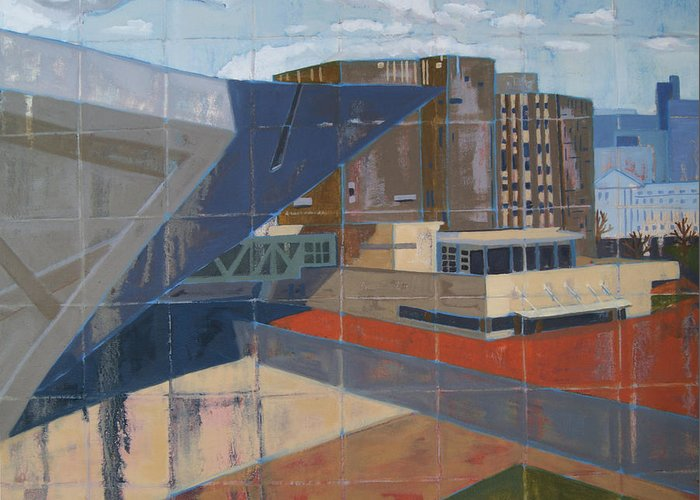 Cityscape Greeting Card featuring the painting Dam Museum by Erin Fickert-Rowland