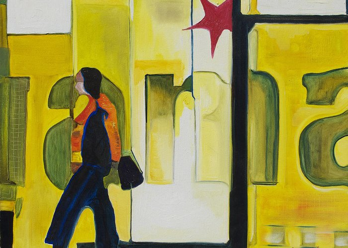 Abstract Greeting Card featuring the painting Dam Shopper by Patricia Arroyo