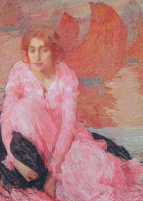 Dame En Rose By Edmond-francois Aman-jean (1858-1936) Greeting Card featuring the painting Dame En Rose by Edmond Francois Aman Jean