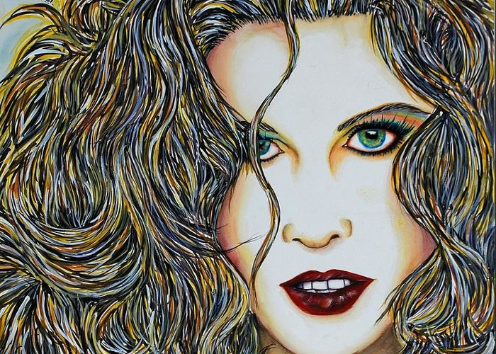 Actress Greeting Card featuring the mixed media Dam...lay Me Down by Joseph Lawrence Vasile