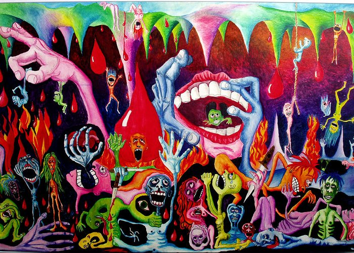 Hell Greeting Card featuring the painting Damnation Of The Evil by Nancy Mueller