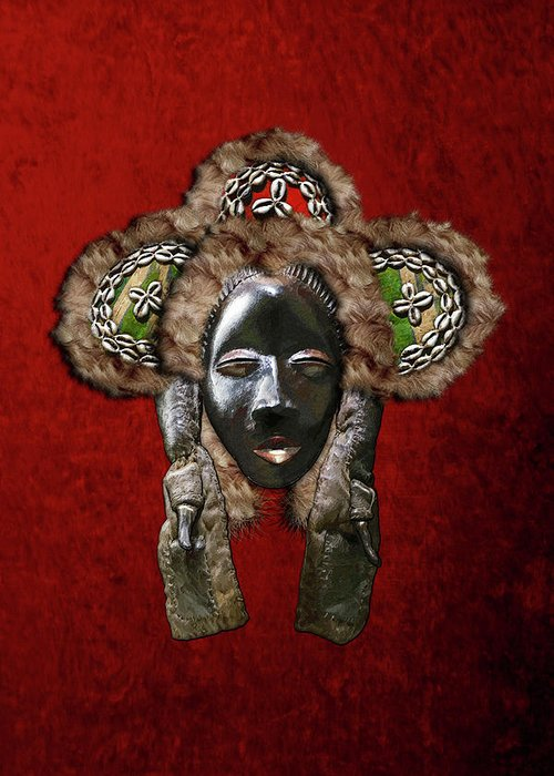 'treasures Of Africa' Collection By Serge Averbukh Greeting Card featuring the digital art Dan Dean-gle Mask Of The Ivory Coast And Liberia On Red Velvet by Serge Averbukh