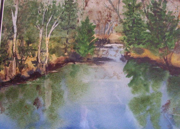 Landscape Greeting Card featuring the painting Dan S Pond by Audrey Bunchkowski