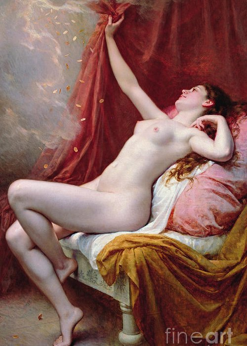 Nude Greeting Card featuring the painting Danae by Alexandre-Jacques Chantron