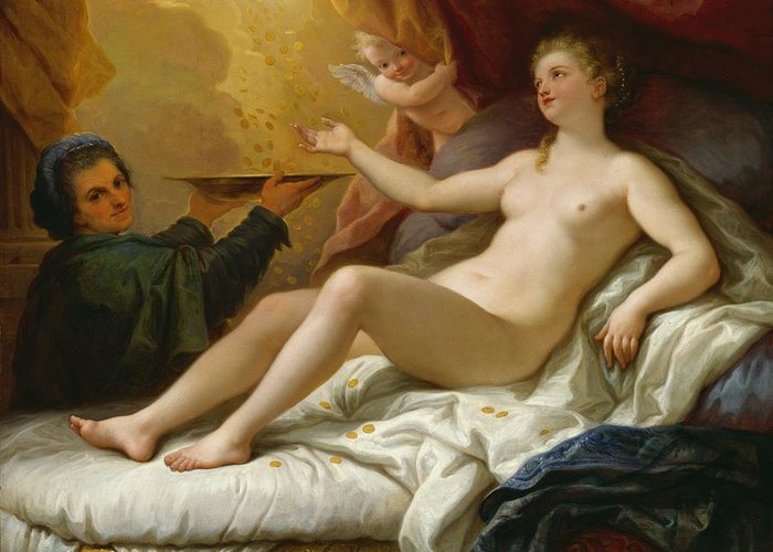 Danae Greeting Card featuring the painting Danae by Paolo di Matteis