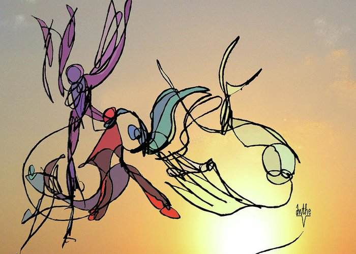 Dancers Greeting Card featuring the digital art Dance At Sunrise by Anthe Capitan-Valais
