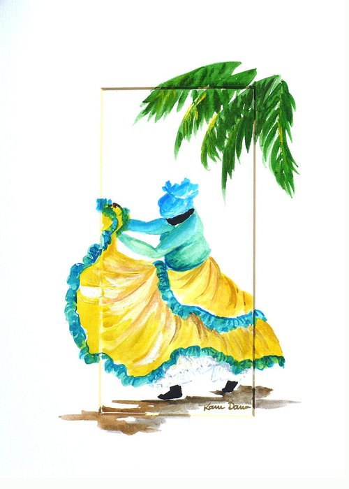 Dance Folk Caribbean Tropical Greeting Card featuring the painting Dance de Belaire by Karin Dawn Kelshall- Best