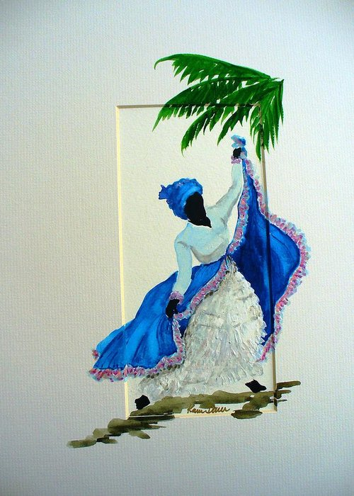 Folk Dance Caribbean Tropical Greeting Card featuring the painting Dance De Pique by Karin Dawn Kelshall- Best