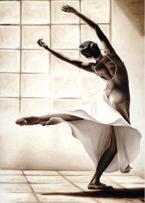 Dancer Greeting Card featuring the painting Dance Finesse by Richard Young
