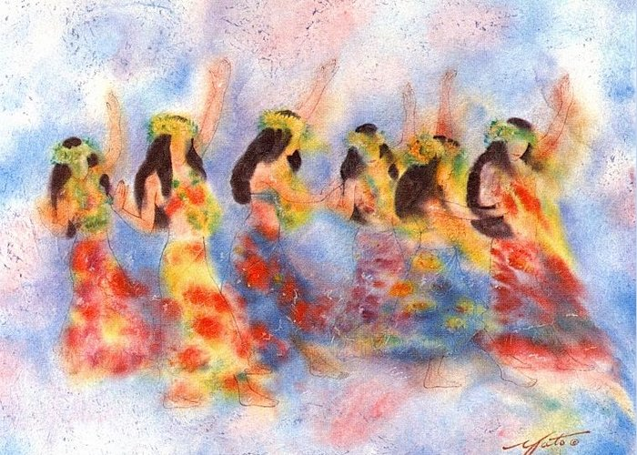 Hula Dancers Greeting Card featuring the painting Dance Of Paradise by John YATO