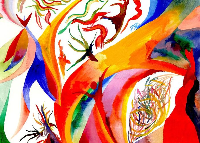 Shaman Greeting Card featuring the painting Dance Of Shaman by Peter Shor